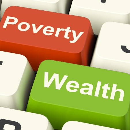 Poverty And Wealth Computer Keys Showing Rich Versus Poor